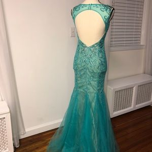 Dave & Johnny Dresses - Blue Jeweled Mermaid Dress (Dave & Johnny)